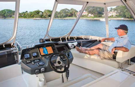 Owner Jerry Blakeley relaxing on his Aquila