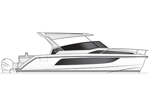 A black and white rendering of an Aquila 36 power catamaran, from a profile view