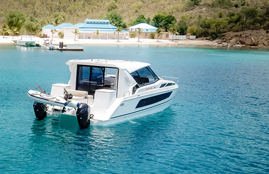 An Aquila 36 Cruiser power catamaran in the water