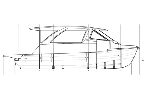 A black and white sketch of an Aquila 36 Excursion power catamaran, from a profile view
