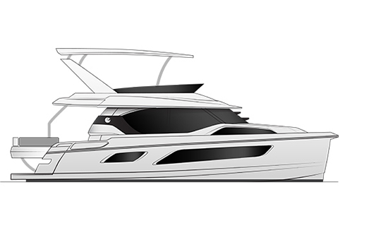 A black and white rendering of an Aquila 44 power catamaran, from a profile view