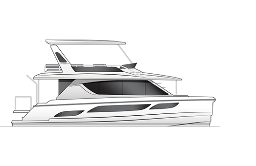 Black and white drawing in the profile view of the Aquila 48 power catamaran
