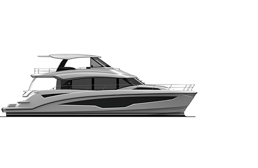 A rendering of a side profile of the Aquila 70 power catamaran in black and white on a white background
