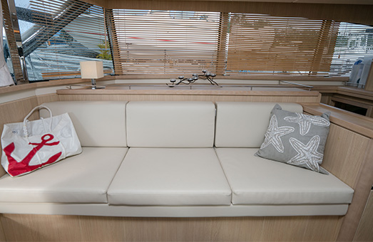 The interior of an Aquila power catamaran