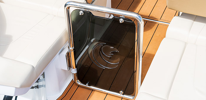 showing the detail of the door on the aquila 32 power catamaran