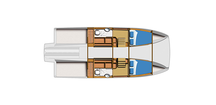 overhead layout of the aquila 36 power catamaran