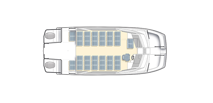 Overhead layout of the Aquila 36 Excursion power catamaran