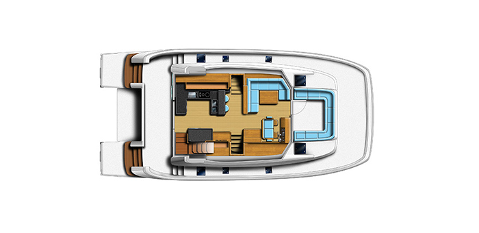 overhead layout of the aquila 48 power catamaran