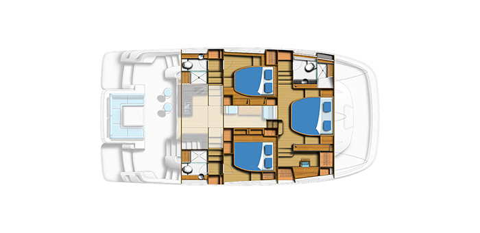 overhead layout of the aquila 44 power catamaran