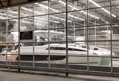 An Aquila power catamaran in a testing facility