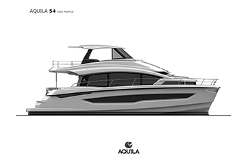 Side profile of an Aquila 54 power catamaran