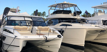 Aquila catamarans on display at the Fort Lauderdale International Boat Show 2018