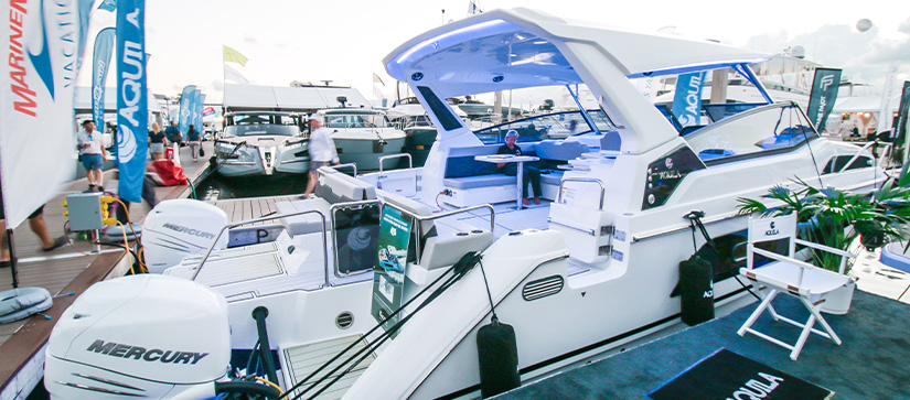 An Aquila 36 power catamaran docked at the Fort Lauderdale International Boat Show